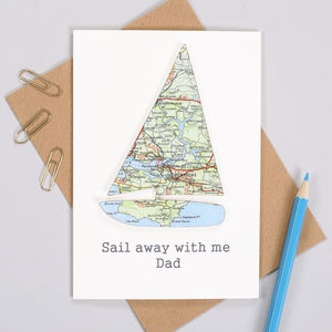 Personalised Fathers Day Map Sailing Boat Card