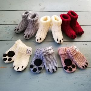 Animal Paw Baby Mitten And Bootie Set