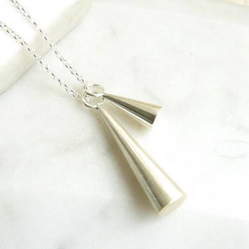 Double Cone Silver Pendant Necklace