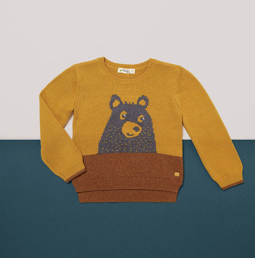 grizzly bear knitted kids jumper by the bonnie mob notonthehighstreet.com