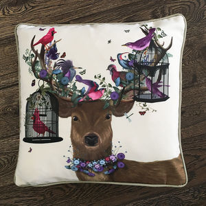 Deer And Bird Cages Decorative Cushion - cushions