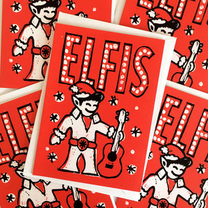 Elfis Funny Christmas Cards Packs Of Five Or Ten - cards & wrap