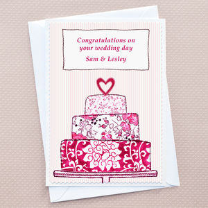 'Wedding Cake' Personalised Wedding Card