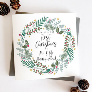 Our First Married Christmas Wreath Card