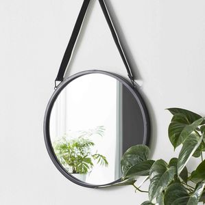 Industrial Style Round Hanging Mirror