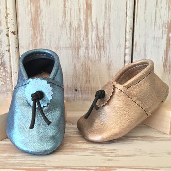Metallic Leather Baby Booties