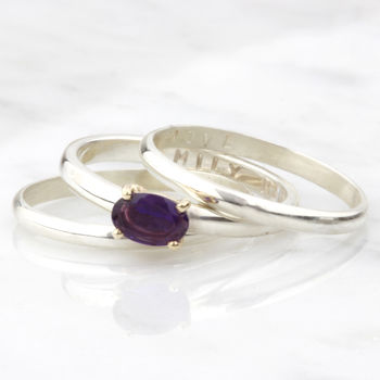 Personalised Amethyst Birthstone Stacking Rings