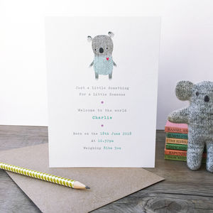 Personalised New Baby Koala Card - personalised