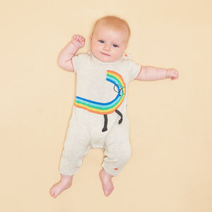 Quinn Organic Cotton Rainbow Dude Baby Playsuit