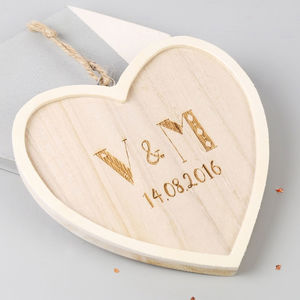Small Wooden Personalised Initials Hanging Heart - room decorations