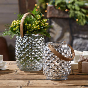 Silver Candle Holder With Leather Strap - kitchen