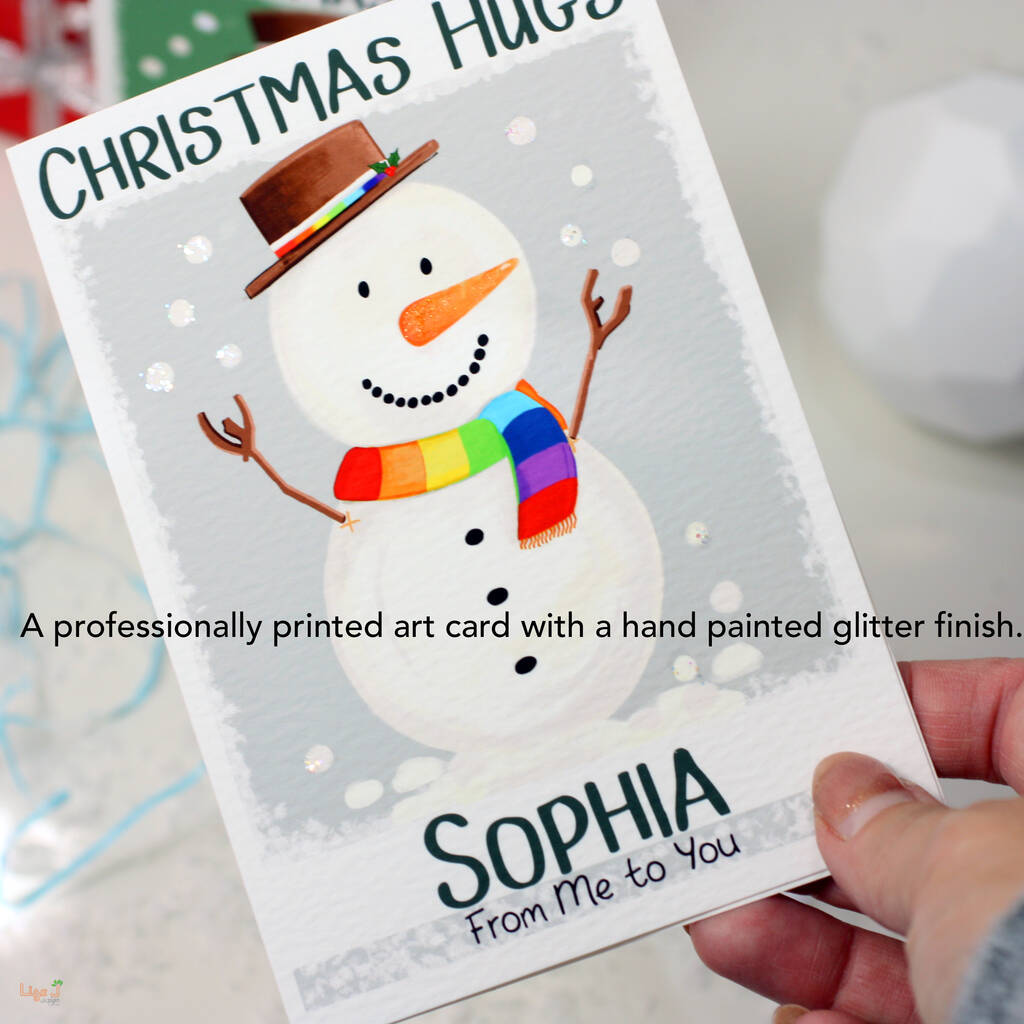 Personalised Snowman Rainbow Christmas Card By Liza J ...