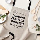 Personalised Happiness Is Linen Apron