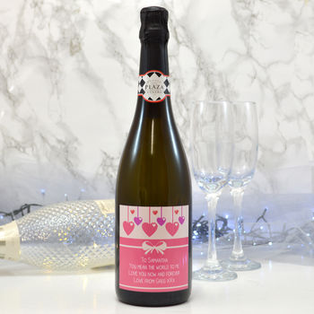 Personalised Prosecco Bottle With 'Hanging Hearts'