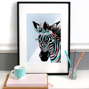 Aqua And Peach Zebra 'On Safari' Illustration
