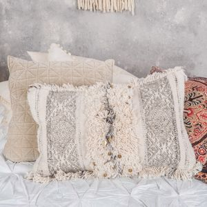 Cream Tassel Embroidered Floor Cushion - furniture