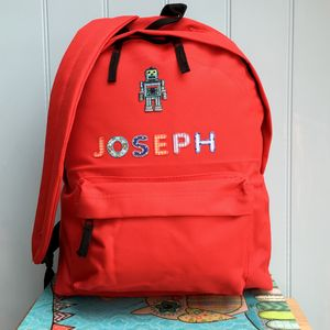 Robot Personalised Childrens Backpack - back to school