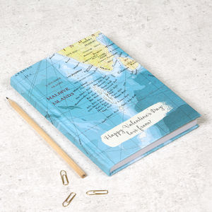 Holiday Honeymoon Personalised Map Journal Notebook