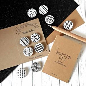 Monochrome Black And White Badge Set, Any Four Patterns - bag charms