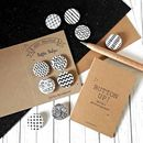 Monochrome Black And White Badge Set, Any Four Patterns