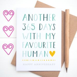 Favourite Human Anniversary Card - wedding, engagement & anniversary cards
