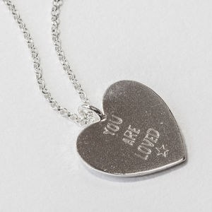 Sterling Silver Large Engraved Heart Necklace - necklaces & pendants