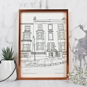 Personalised House Portrait Line Drawings - prints & art sale