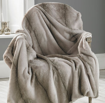 Faux Angora Striped Throw