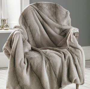 Faux Angora Striped Throw - blankets & throws