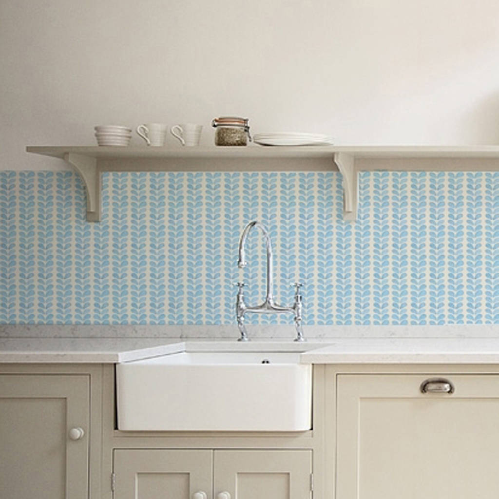 blue leaves kitchen walls backsplash wallpaper by lime lace ...