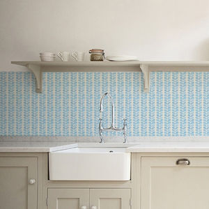 Blue Leaves Kitchen Walls Backsplash Wallpaper - bedroom