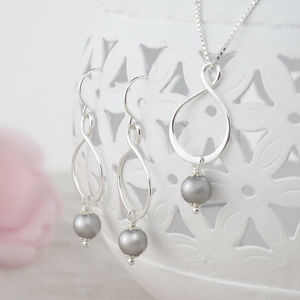 Aida Grey Pearl Pendant And Earring Set - women's jewellery
