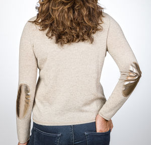 Cashmere Jumper With Metallic Elbow Patch