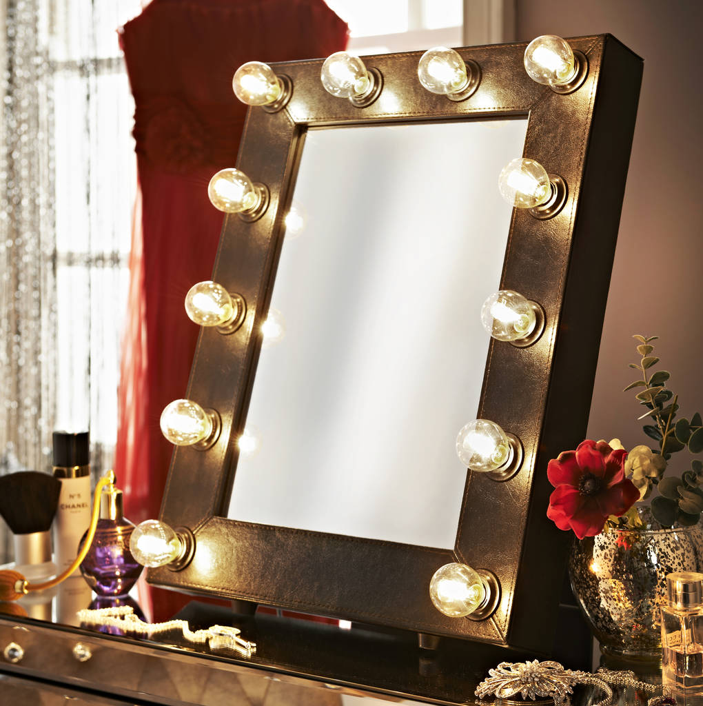Black Faux Leather Hollywood Mirror