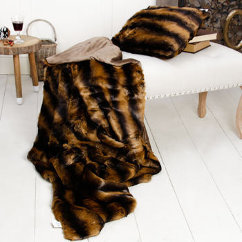 Faux Fur Tundra Oxen Throw And Cushion