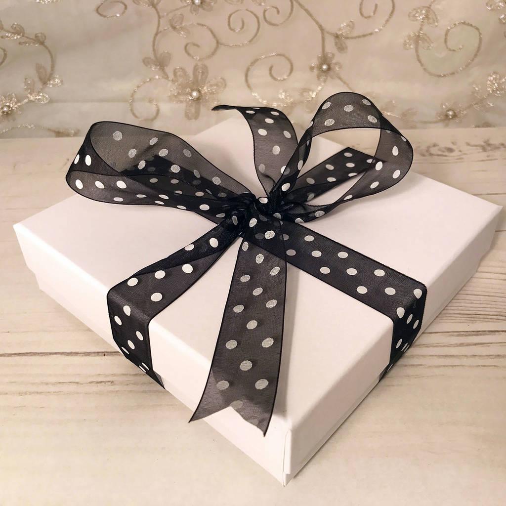 Optional Gift Box Black White Polka Dot