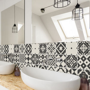 Geometric Greyscale Tile Stickers Pack Of 24 Tiles