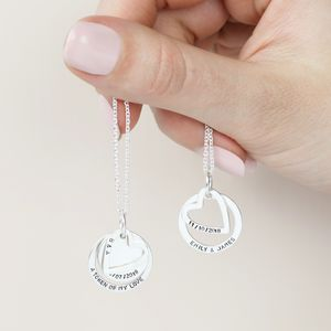 Personalised Sterling Silver Hearts And Hoops Necklace - necklaces & pendants