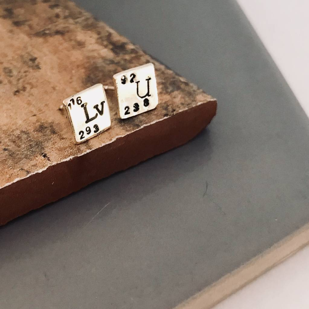 Sterling Silver Lv U Elements Stud Earrings