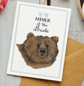 Father Of The Bride Bear Card - wedding thank you gifts