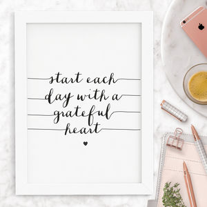 'Start Each Day' Inspirational Typography Print - typography