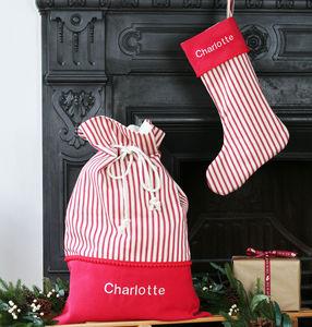 Luxury Personalised Stripes Santa Sack And Stocking