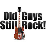 guitar stood vertical with old guys still rock