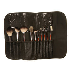 Badger Set with Leatherine Brush Roll - beauty accessories