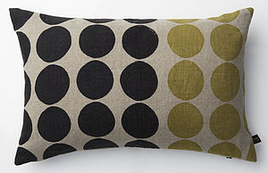 100% Irish Linen Hand Printed Cushion Circles - patterned cushions
