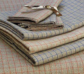 100% Linen Checked Tablecloth
