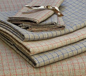 100% Linen Checked Tablecloth - table linen