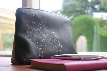Embroidered Leather Cosmetics Bag: Medium