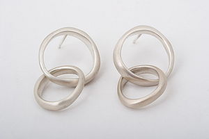 Silver Unity Double Circle Stud Earrings - earrings