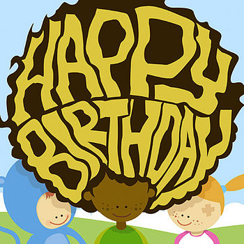 Happy birthday afro card